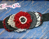 M2M Mustard Pie Holiday 2015, Black, Cherry Red, Ivory Headband, Hair Accessory, Hair Piece, Hair Clip,