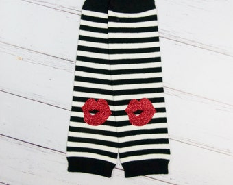 Baby Girl Leg Warmers Black Red Glitter Lips Leggings Baby Girl Clothes