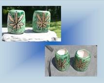 2 Large Hole Dreadlock Beads, Gold Marijuana Dread Bead, Hair Accessories, Green Cannabis Bead,  Macrame Beads, Ceramic Pottery
