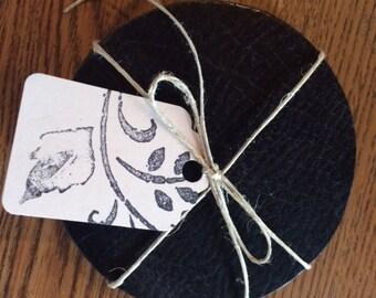 4 Distressed Black Leather Coasters