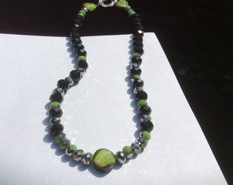 LIme SIlver and Black Crystal Necklace