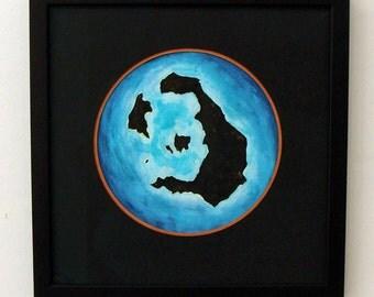 Thera - Framed Original Artwork, Santorini, Charcoal and Watercolor Painting