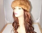 """H-67 Vintage Brown Mink Fur Hat 22.5"""""""