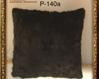 P-140 Genuine Dark Brown MINK Fur Pillow 15 x 15 Great Decor