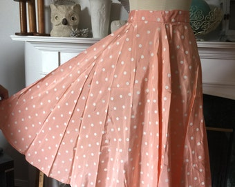 Peach Polka Dot Taffeta Swing Skirt