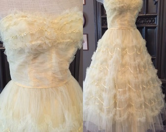 50s Soft YellowTulle Cupcake Tea Length Party Prom Dress