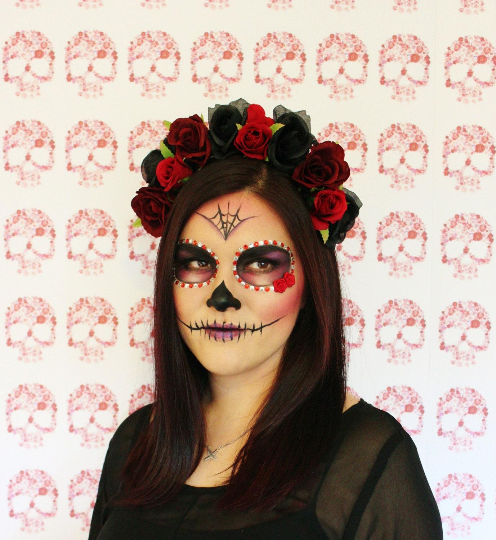 Black Flower Crown Gothic Flower Crown Black Flower: Red Black Rose Flower Crown Floral Headband By MissWildFlowers