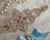 SALE-Wedding Garter-Garter-Bridal garter-Ivory Lace-Rhinestone-Applique-Something Blue-Blue-Pink-Purple-Ivory-Vintage Garter-Stretch lace