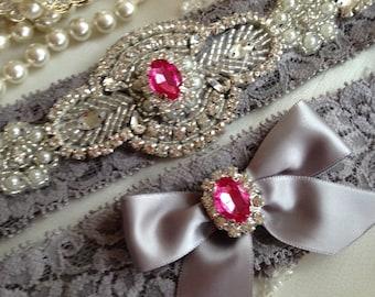 SALE-CUSTOM-YOU Choose-Wedding Garter-Gray Lace Garter-hot pink-pink-Rhinestone Garter-Vintage-Applique Garter-Grey-Ivory-Bridal Garter-grey