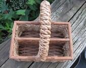 divided vintage handled basket with wood 1980's era or ealier solid