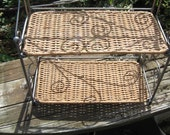 Reserved for Sharon, Metal Wicker 2 Tier Shelf, Counter/Wall, folds for storage, 1990's, Cottage Chic, Organization, Shabby Style, Bathroom