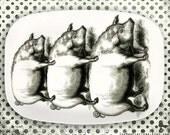 pig pile, pile of pigs melamine platter