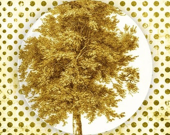 tree, misted yellow melamine plate