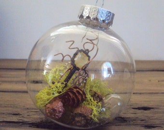 Steampunk Moss Ornament - Fairy Steampunk Christmas Bauble - Hanging Moss SciFi Terrarium - Gears Cogs Decoration - Woodland Steampunk Decor