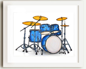 Drumset Pencil Print | Musican Wall Art, Blue Drum Set, Music Illustration, Cymbals, Ink Drawing, Snare Drum, Unique Gift