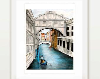 Venice Waterways Pencil Drawing Print | Illustration, Custom Art, City Drawing, Wall Art, Italy Art, Painting