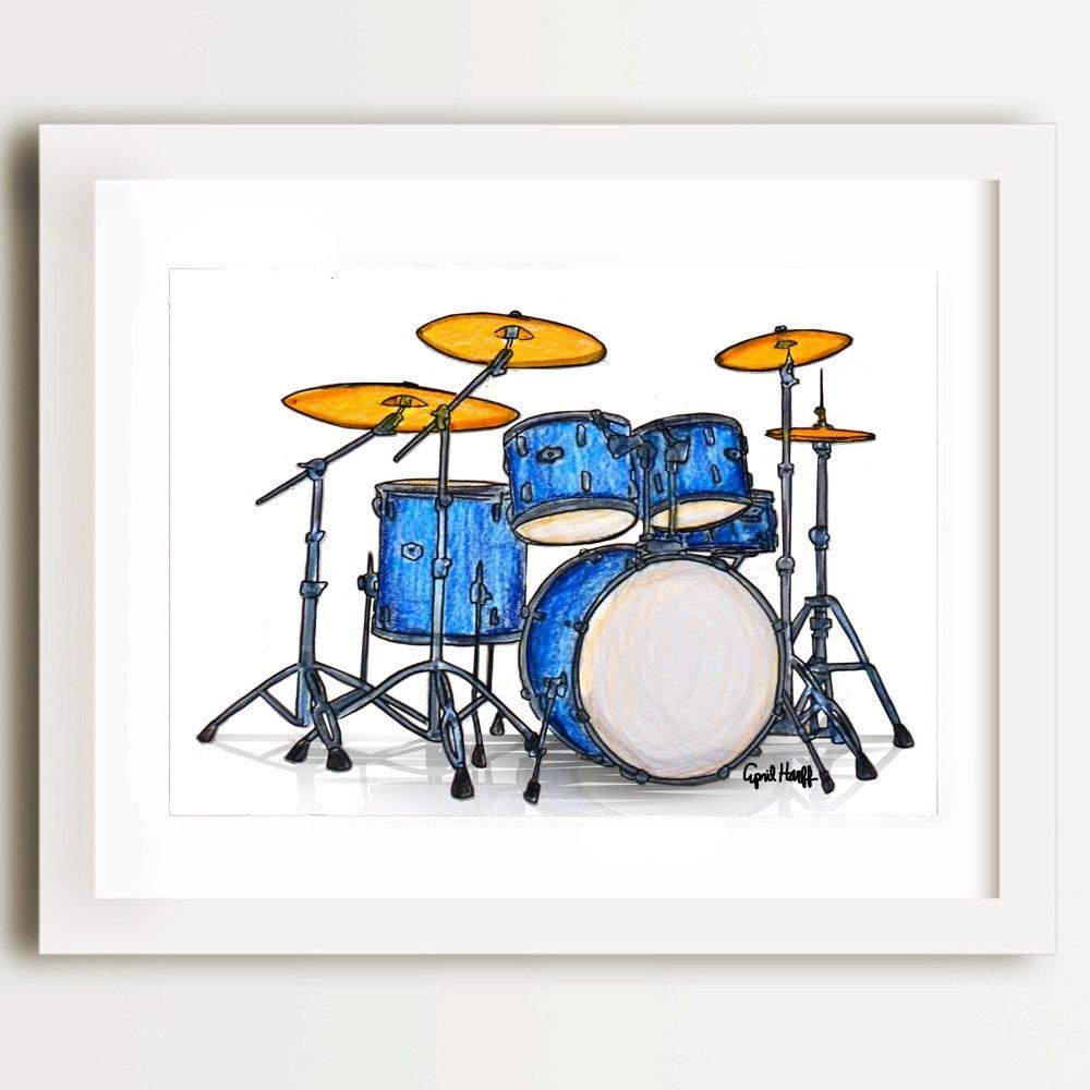 Drum Set Wall Decor : Drumset pencil print musican wall art blue drum set music
