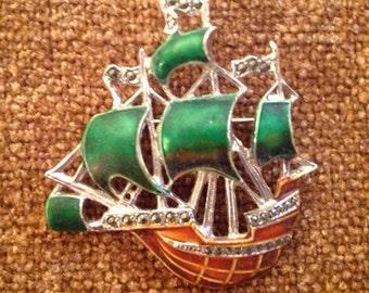 Vintage  Galleon Ship Silver-tone Brooch