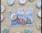 Set of 3 Pussy Willow button badges