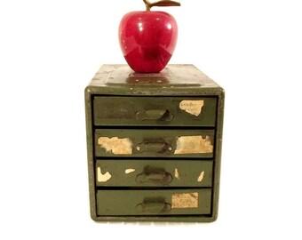 Vintage Industrial Storage - Steelmasters - File A Way Chest - Craft Storage - Parts Cabinet - 4 Drawer - Industrial Decor - Desktop