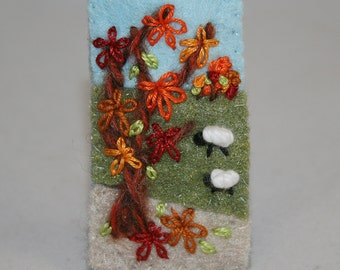 Embroidered Felt Autumn Brooch - Hill-side sheep, autumn tree stitched by Lynwoodcrafts