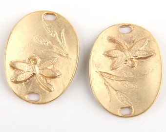 Floral Dragonfly Connector, Matte Gold Plated,2 pieces // GC-389