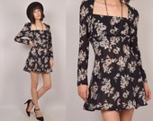 25% OFF 90's Sheer Floral Mini Dress Long Sleeve