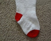 Personalized Christmas Stocking - 24 inch - White and Red - Hand Knit - Custom Order
