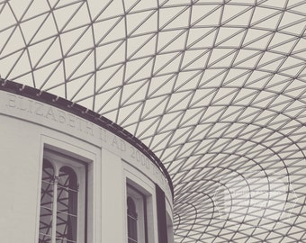 Architectural Photograph.  The British Museum. Black and White Photo. Geometric Photograph. Triangles. Diamonds. Windows. England. London.