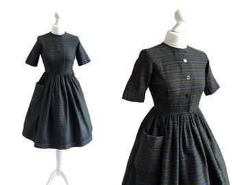 1950's Vintage Dress - 50's Day Dress - Moss Green Stripe Dress - Jafa Label - I Love Lucy Dress