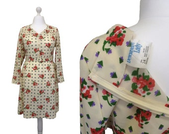 Devonshire Lady Dress - XL UK22 - Vintage 1970's Dress - 70's Vintage Dress - Floral Cream Day Dress