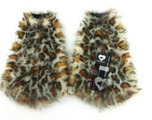 MADE TO ORDER Leopard Fluffies Fuzzy Leg Warmers fluffy boot covers rave boots gogo animal print kitty halloween costume festival leggings
