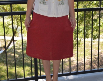 Red Skirt, Size 14, Queen Casuals Red Vintage Skirt, 70's Skirt, Casual Skirt, Women's Skirt, Ladies' Skirt, Elastic Waist, BOHO