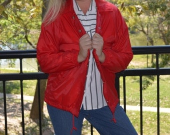 Women's Red Coat, Size Medium, Red Jacket, Ladies' Snap Up Jacket, Outbrook Red Vintage Women's Coat, Lightweight Coat