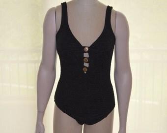 Mainstream Swimsuit, Women's Swimsuit, Size 16, Vintage Black Swimsuit, Women's Swimwear, Ladies' Swimsuit, 80s Swimwear