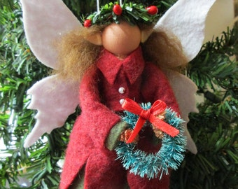Christmas Ornament - Chistmas Fairy, Clothespin, Felt