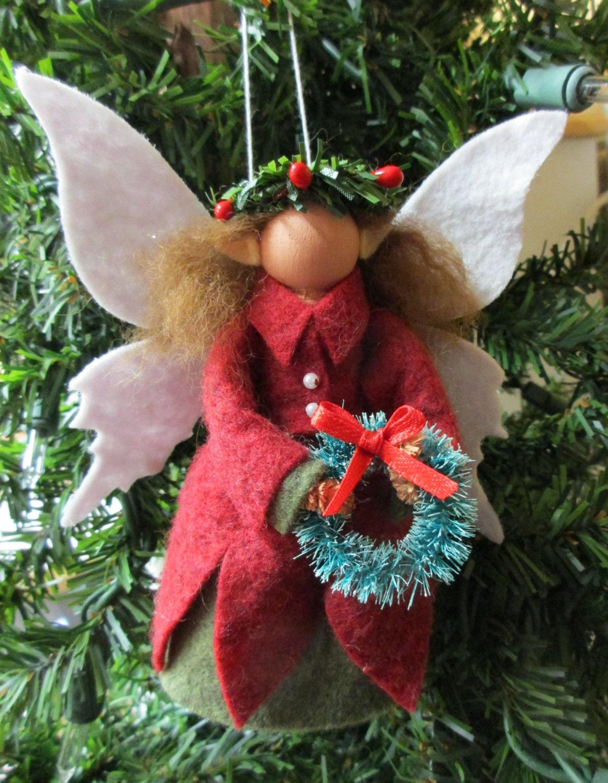 Christmas Fairy Ornament Clothespin Ornament Wool Felt Peg