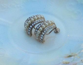 Vintage Earrings, Pearls and Rhinestones, Bridal Bling, Beautiful