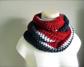 Crochet Red, White, and Blue, NHL, NFL Hockey, Football, New York Rangers, Montreal, New England Patriots Infinity Scarf, Unisex Scarf