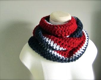 Crochet Red, White, Blue, NHL, Hockey, Football, New York Rangers, Montreal Canadiens, Patriotic Team USA Infinity Scarf, Unisex Scarf