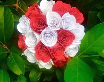 TRUE LOVE- Paper Flower Bouquet / Paper Bridal Bouquet, Rosette Bouquet, Wedding, Paper Rosettes, Paper Flowers, Centerpiece