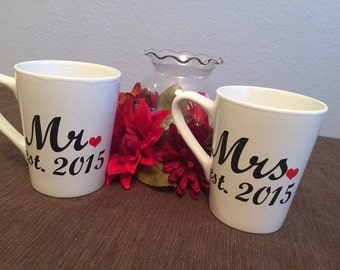 Mr. and Mrs. Coffee Mug Personalized Set