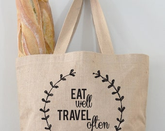Eat Well, Travel Often Tote Bag, Market Bag, Reusable Totes by Fiber and Water