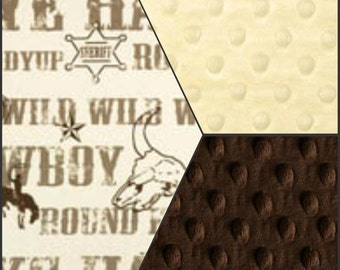 Premier Prints Cowboy Kelp Minky Baby Blanket