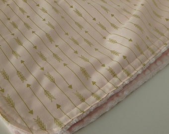 Light Pink with Gold Arrow Minky Blanket