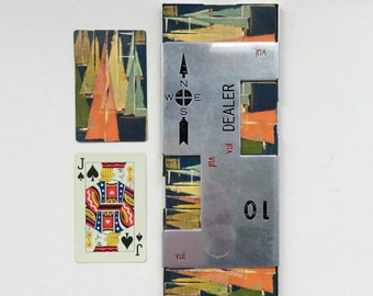 Vintage Bridge Dealer Board, 52 Playing Cards, Stylized Sail Boats
