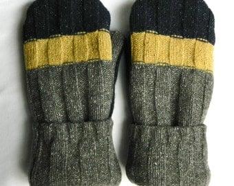 Felted Wool Mittens - Men's/Women's - Grey/Navy Blue/Yellow Gold - Wool Mittens - Felted Sweater Mittens