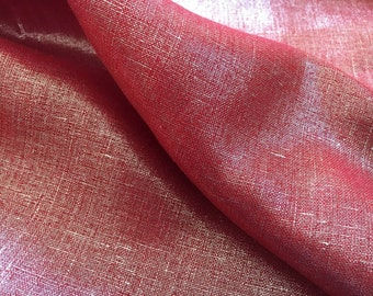 """Red Silver Laminated Linen Fabric - Listing for 1 yard & 60"""" wide F-45-15"""