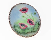 Vintage Porcelain Hand Painted Floral Red Poppy Flower Brooch Pin Victorian Revival
