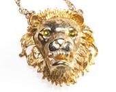 Roaring Lion Head Pendant Necklace Enamel Hattie Carnegie?